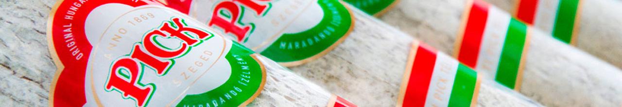 PICK original ungarische Salami zwei Mittelstangen gestapelt